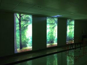 Фальшь окна панорамные с подсветкой