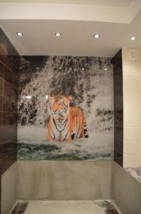 Панно в ванную тигр в водопаде