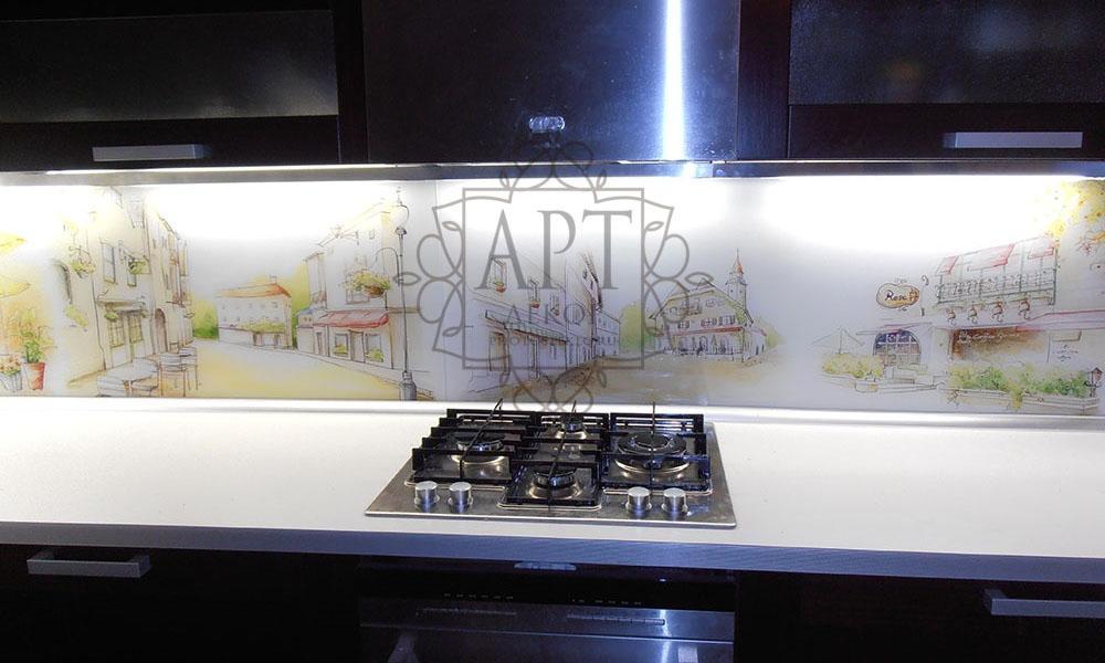 Акварельный рисунок в коричневой кухне