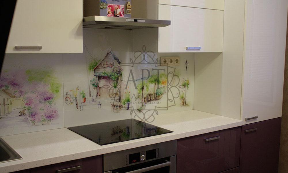 Акварель в сиренево-белой кухне