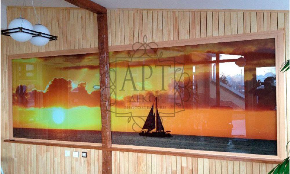 Яхта панно из стекла