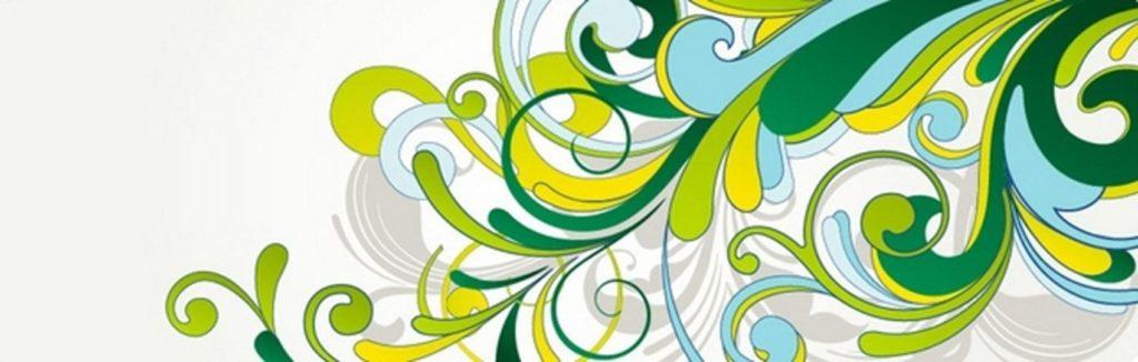 орнамент зеленые и желтые завитушки