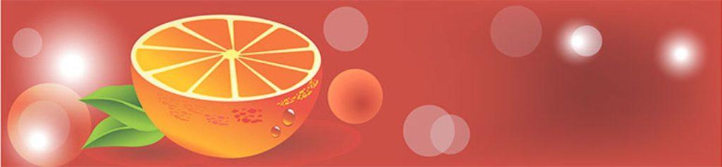 Апельсин на красном фон