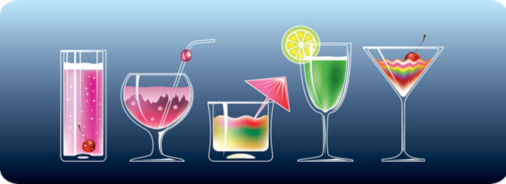 Напитки на синем фо