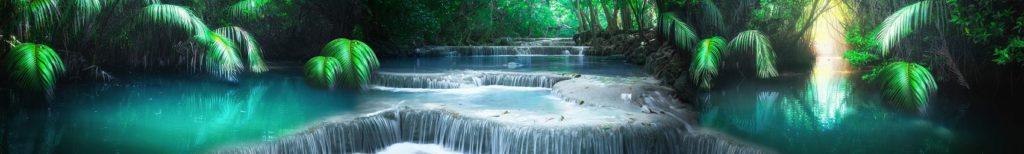 Папоротник на берегу лазурного водопада