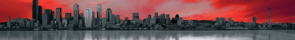 Город Сиэтл в красно-сером цвете