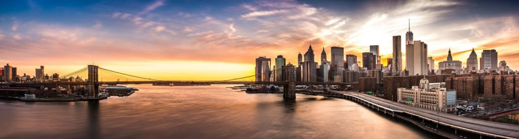 Нью-Йорк Манхэттен на рассвете