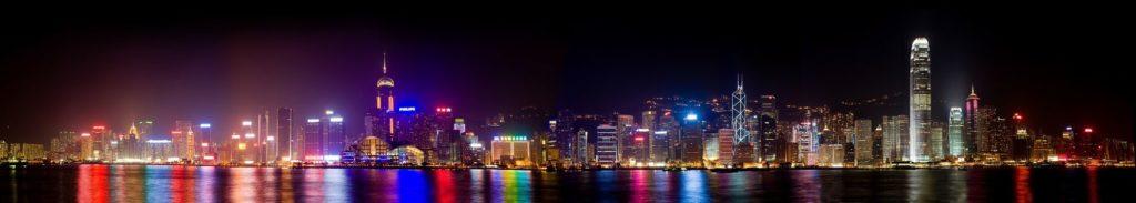 Гонконг гавань Виктория ночью