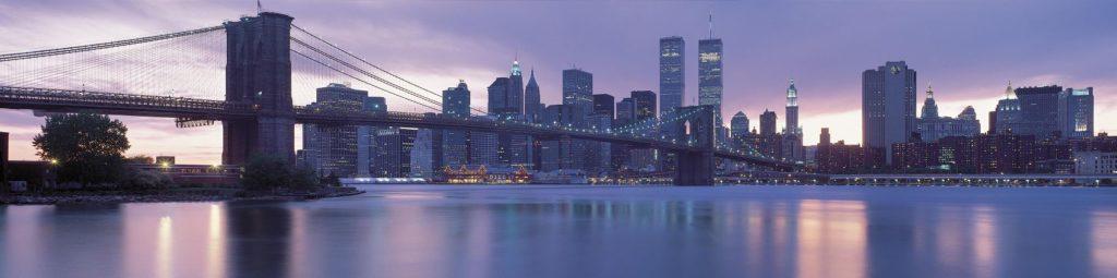 Бруклинский мост на фоне башен близнецов