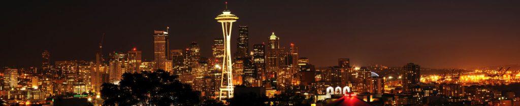 Сиэтл в коричнево-бордовых огнях