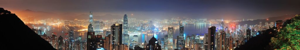 Вид с холма на ночной Гонконг