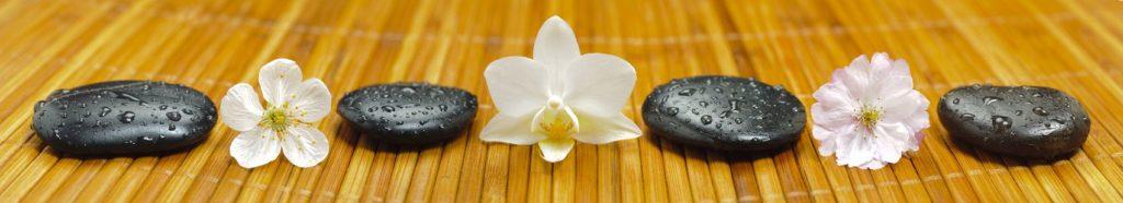белые орхидеи спа-камни