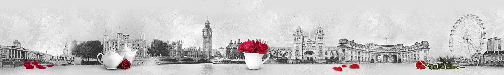красные розы на фоне Лондона