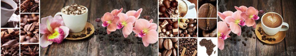 коллаж кофе орхидеи