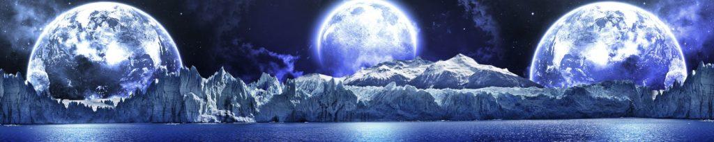 горы в лунном свете