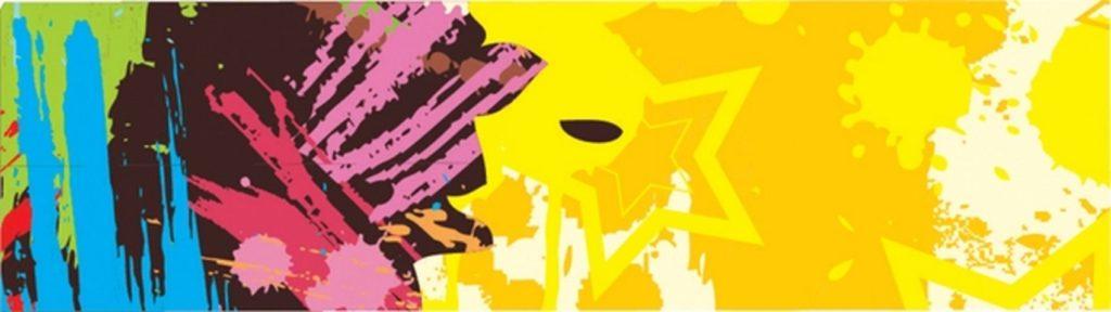 Абстракция кляксы желтые звезды
