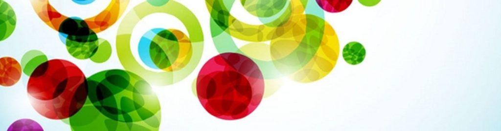 Цветные круги и шары на белом фоне
