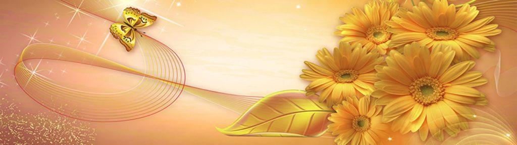 Желтые хризантемы бабочка