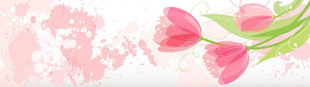 Розовые тюльпаны и кляксы