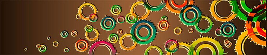 Цветные круги кляксы коричневый фон