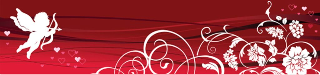 Купидон, сердца и цветы на красном фоне