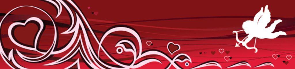 Купидон и сердца на красном фоне