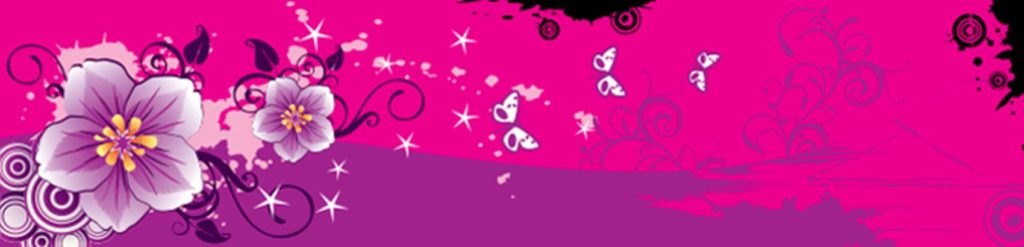Бабочки и цветы на розовом фоне