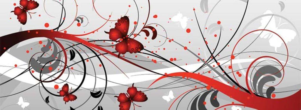 Красные бабочки на сером фоне