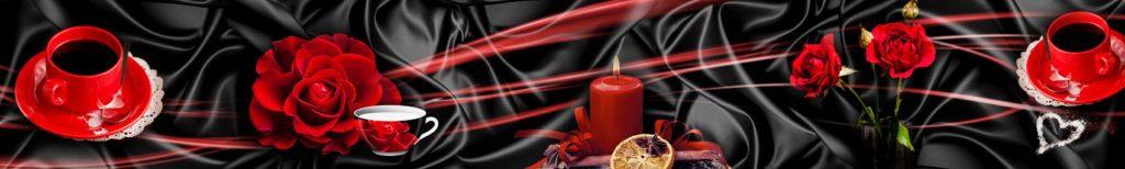 Свеча, розы и кофе на красном