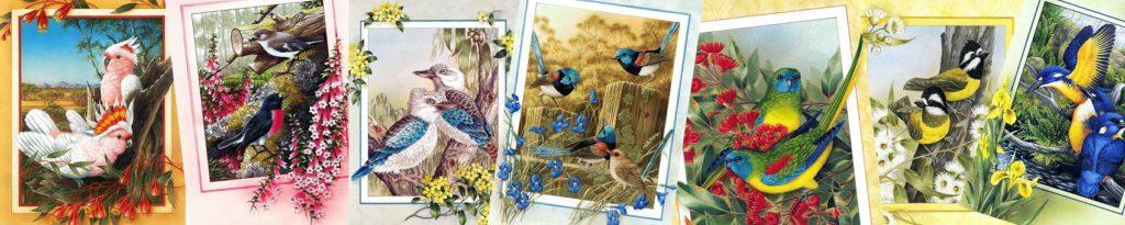 разноцветные птички коллаж