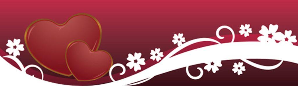 Сердца и цветы на бордовом фоне