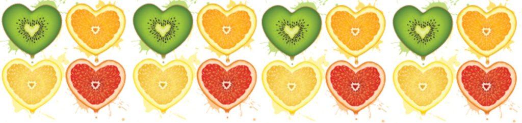 Сердца фрукты киви лимон апельсин грейпфрут