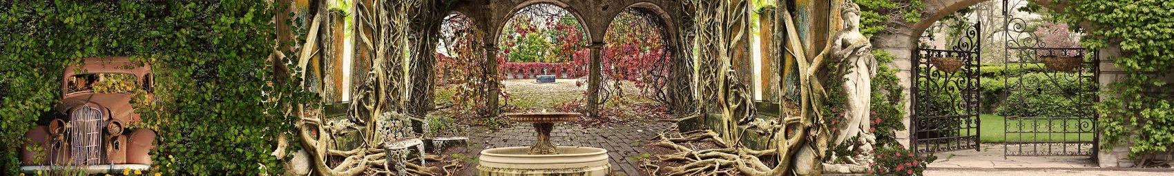 Заброшенный готический сад панорама