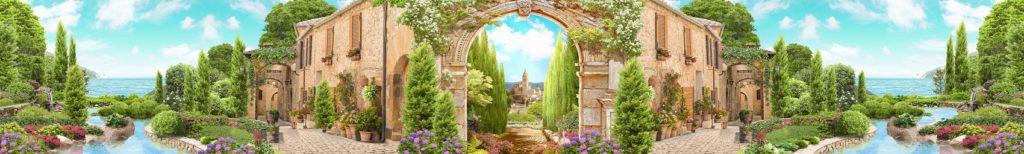 Скинали фрески с аркой и замком