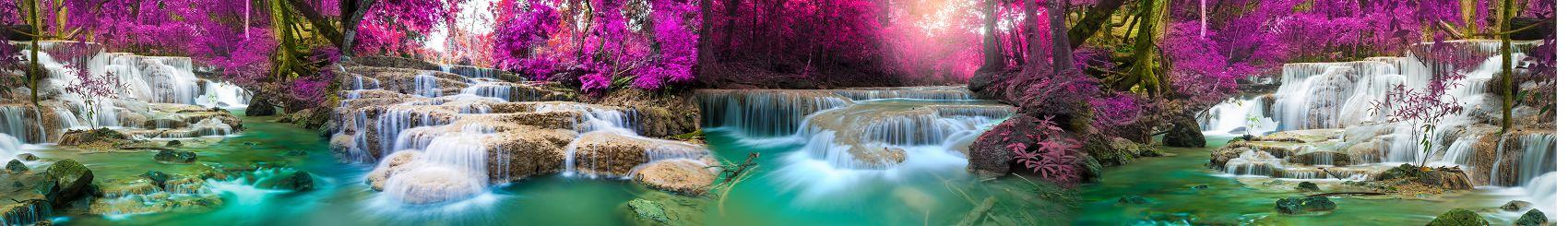 водопад и голубое озеро