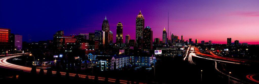 Городские пейзажи мегаполисов ночью