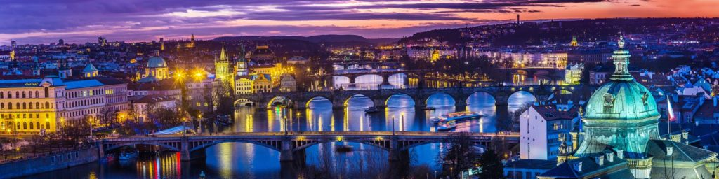 Панорама Праги вечером