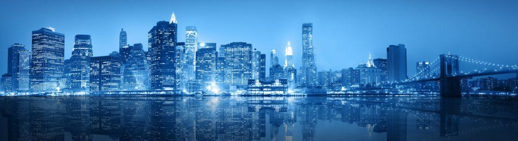 Панорама Нью-Йорка в синих оттенках