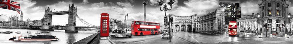 Лондон панорама в красно-серых тонах