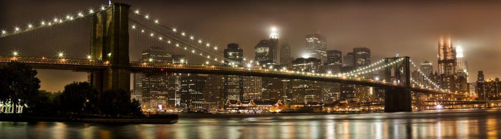 Панорама ночного города Нью-Йорк