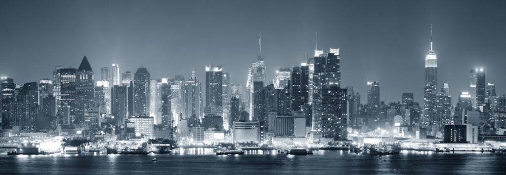 Нью-Йорк панорама в серых тонах