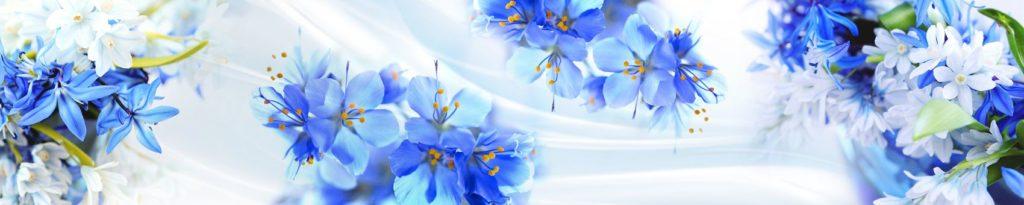 Голубые цветы изображение для скинали