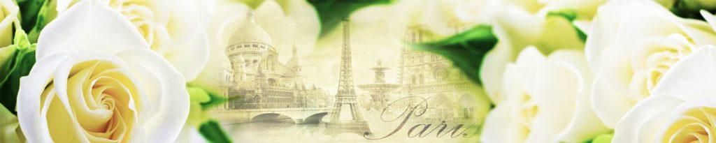 Белые розы на фоне Парижа