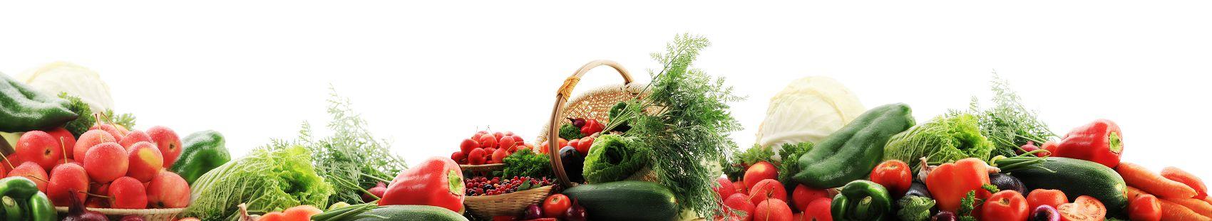 Фрукты овощи на белом фоне