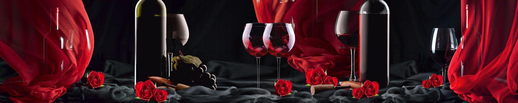 Кухонный фартук вино на черном фоне