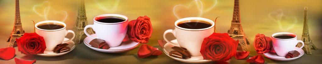 Кофе с розами и дольками шоколада