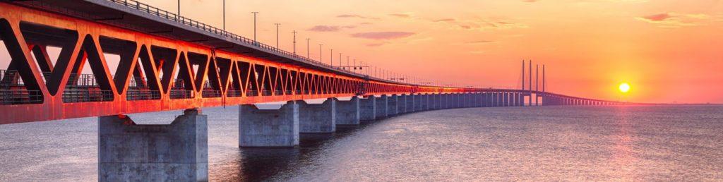 Эресуннский мост с закатом